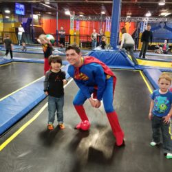 Superman flies in for Toddler Time at Springs Adventure Park, Indoor Family Fun Center and great for Playdates